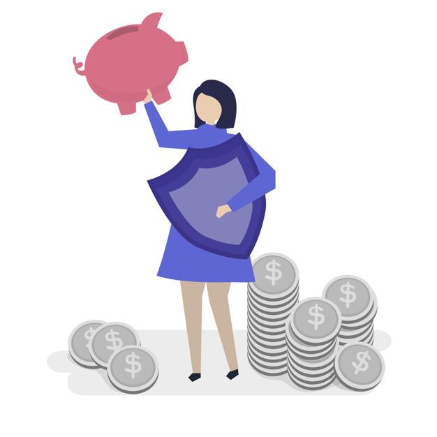 Melhor Escola protegendo a escola da inadimplência. Imagem com uma mulher segurando um porco para cima em sua mão direita, já a mão esquerda um escudo que protege o dinheiro da escola.