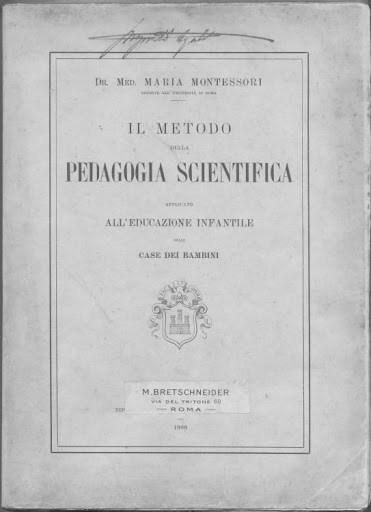 Capa da primeira edição do livro de Maria Montessori. Fonte: Philobiblon